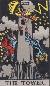 """The Tower"" tarot card, representing disaster in the form of the Tower of Babel"