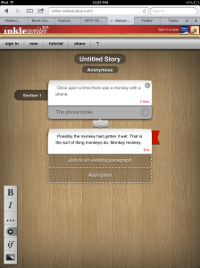 inklewriter as browsed on an iPad