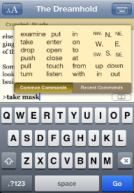 Screenshot of the verb selection menu from Dreamhold on the iPhone
