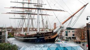 This is the actual Cutty Sark. Imagine the front bit of this poking into the set, along with uncountable boxes, crates, artifacts...