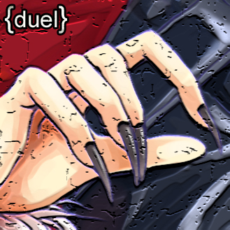 Cover image for Duel showing a hand with long black nails