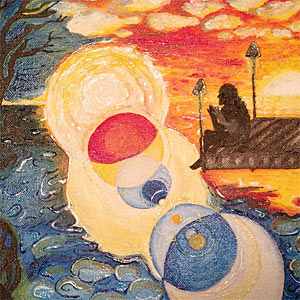 Abstract watercolour cover art for Harmonic Time-Bind Ritual Symphony, showing a man apparently sitting at the end of a pier, but visualising some cosmic spheres
