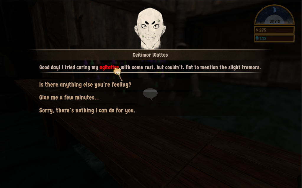 Screenshot of Pestis Apotheca by Yanko Oliveira. An NPC is describing the symptoms of their illness. The player has selected one symptom, causing it to be highlighted.