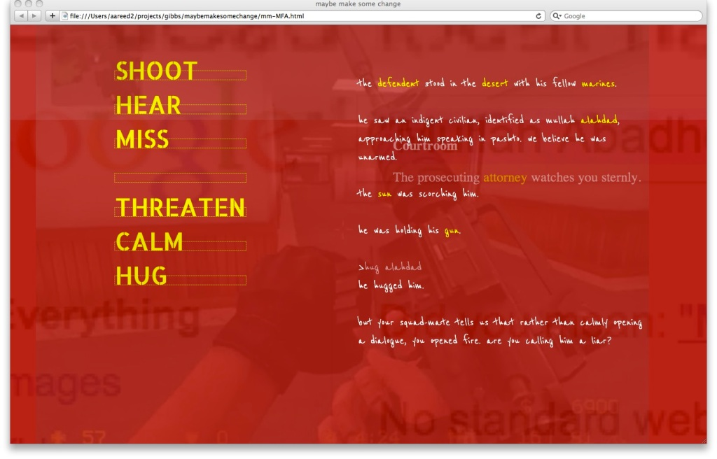 """Screenshot showing the selection of verbs in Aaron Reed's """"maybe make some change"""", including Shoot, Hear, Miss, Threaten, Calm, and Hug."""