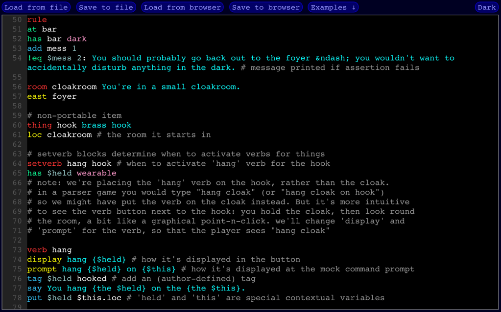 Screenshot of Gruescript's code