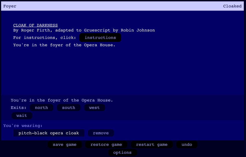 Screenshot of Gruescript's Cloak of Darkness example