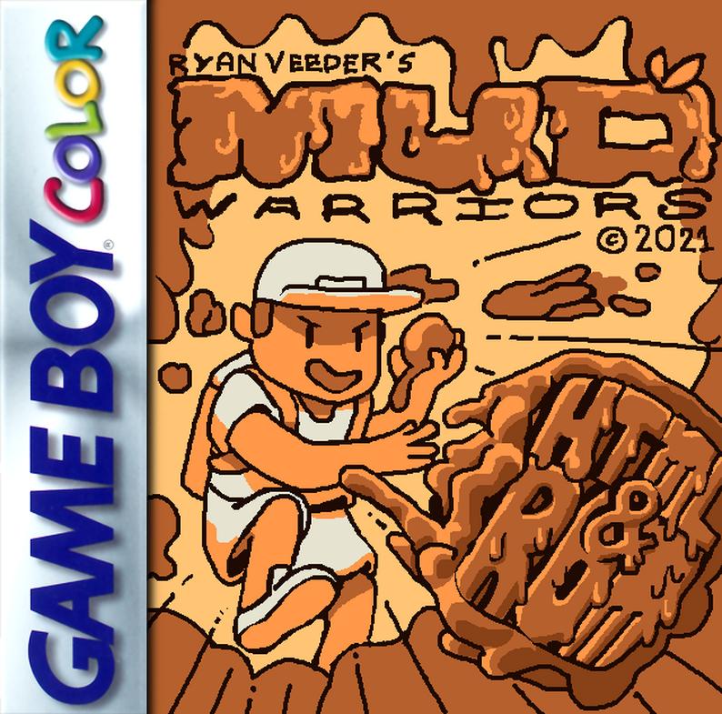 Cover art illustration for Ryan Veeder's Mud Warriors, with Gam Boy branding.